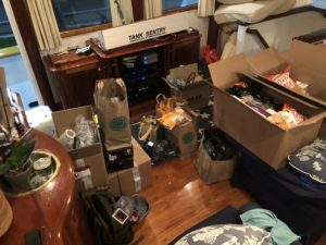 Photo of cupboards emptied for provisioning